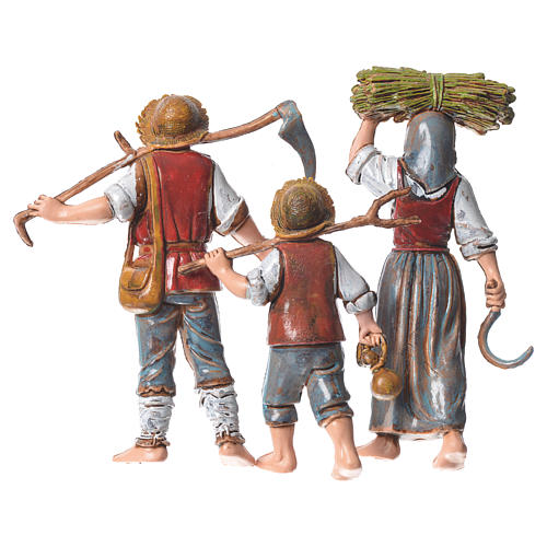 Family of farmers, 3 nativity figurines, 10cm Moranduzzo 2