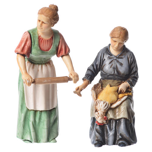 Woman with rolling pin and woman sitting, nativity figurines, 10cm Moranduzzo 1