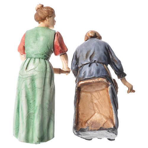 Woman with rolling pin and woman sitting, nativity figurines, 10cm Moranduzzo 2