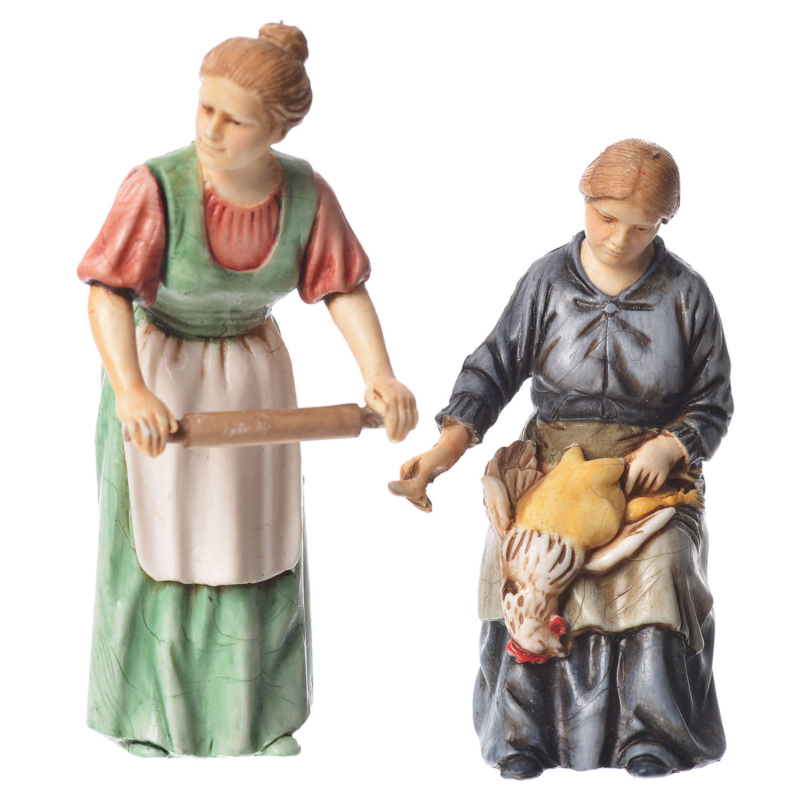 Woman with rolling pin and woman sitting, nativity figurines, 10cm Moranduzzo 4