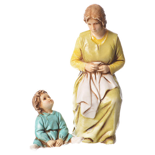 Mending woman and child, nativity figurines, 10cm Moranduzzo 1