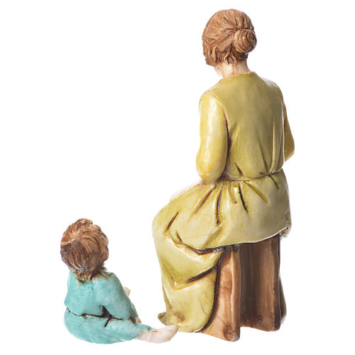 Mending woman and child, nativity figurines, 10cm Moranduzzo 2