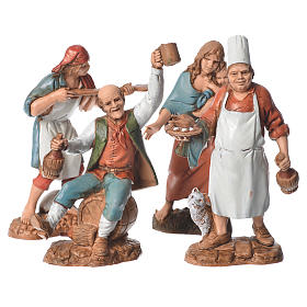Shepherds, 4 nativity figurines, 10cm Moranduzzo s1