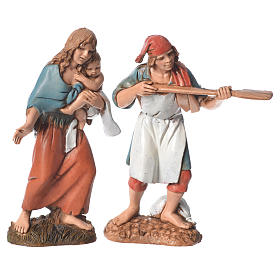 Shepherds, 4 nativity figurines, 10cm Moranduzzo s2