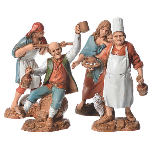 Shepherds, 4 nativity figurines, 10cm Moranduzzo 1