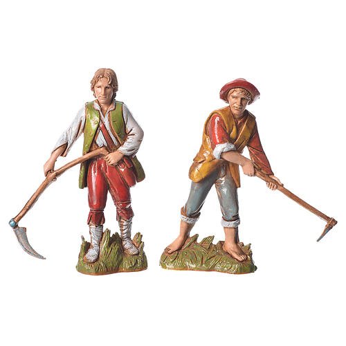 Shepherds, classic colours, 8 nativity figurines, 10cm Moranduzzo 2