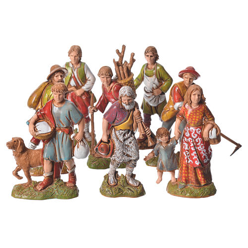Pastores 10 cm cores clássicas 8 peças Moranduzzo 6