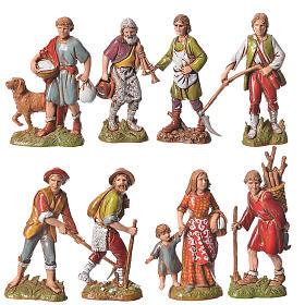 Shepherds, classic colours, 8 nativity figurines, 10cm Moranduzzo s1
