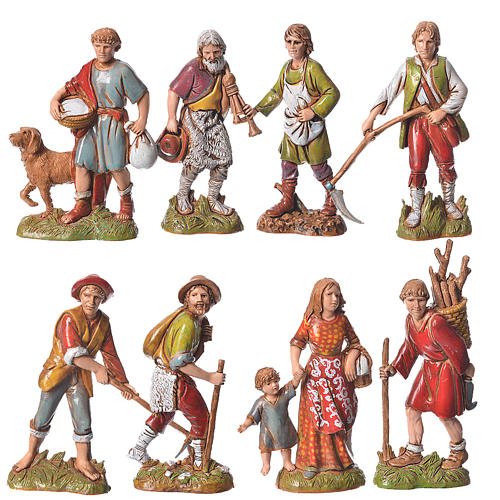 Shepherds, classic colours, 8 nativity figurines, 10cm Moranduzzo 1
