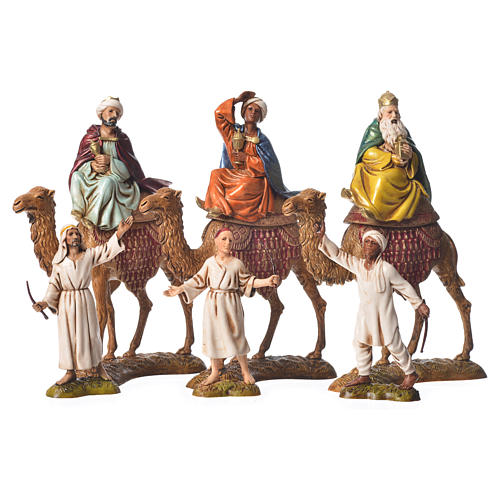 Wise men and camels nativity figurines 6 pieces, 10cm Moranduzzo 1