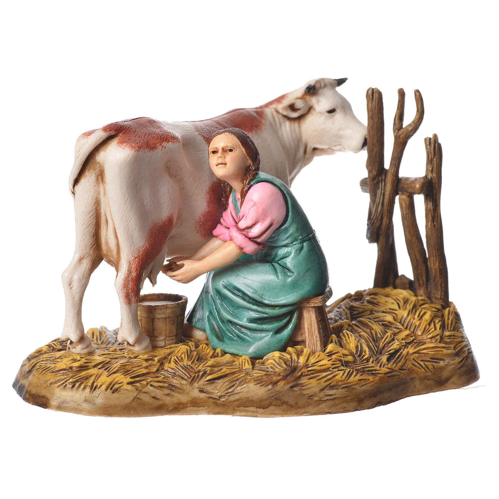 Milking scene nativity figurine 10cm Moranduzzo 4