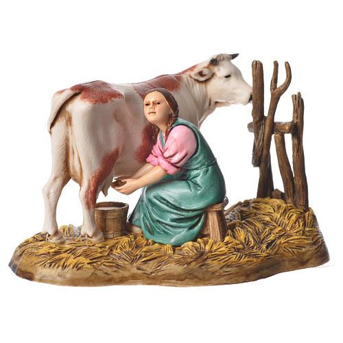 Milking scene nativity figurine 10cm Moranduzzo 1