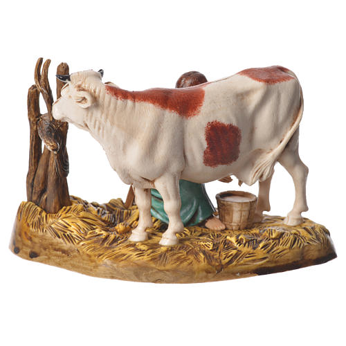 Milking scene nativity figurine 10cm Moranduzzo 2