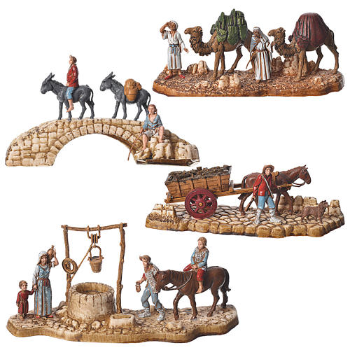 Composition of nativity figurines, 4pieces, 6cm Moranduzzo 1