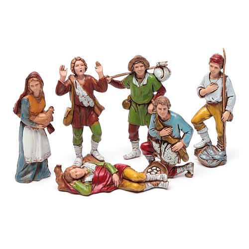 Shepherds figurines 8cm by Moranduzzo, 6pcs 1