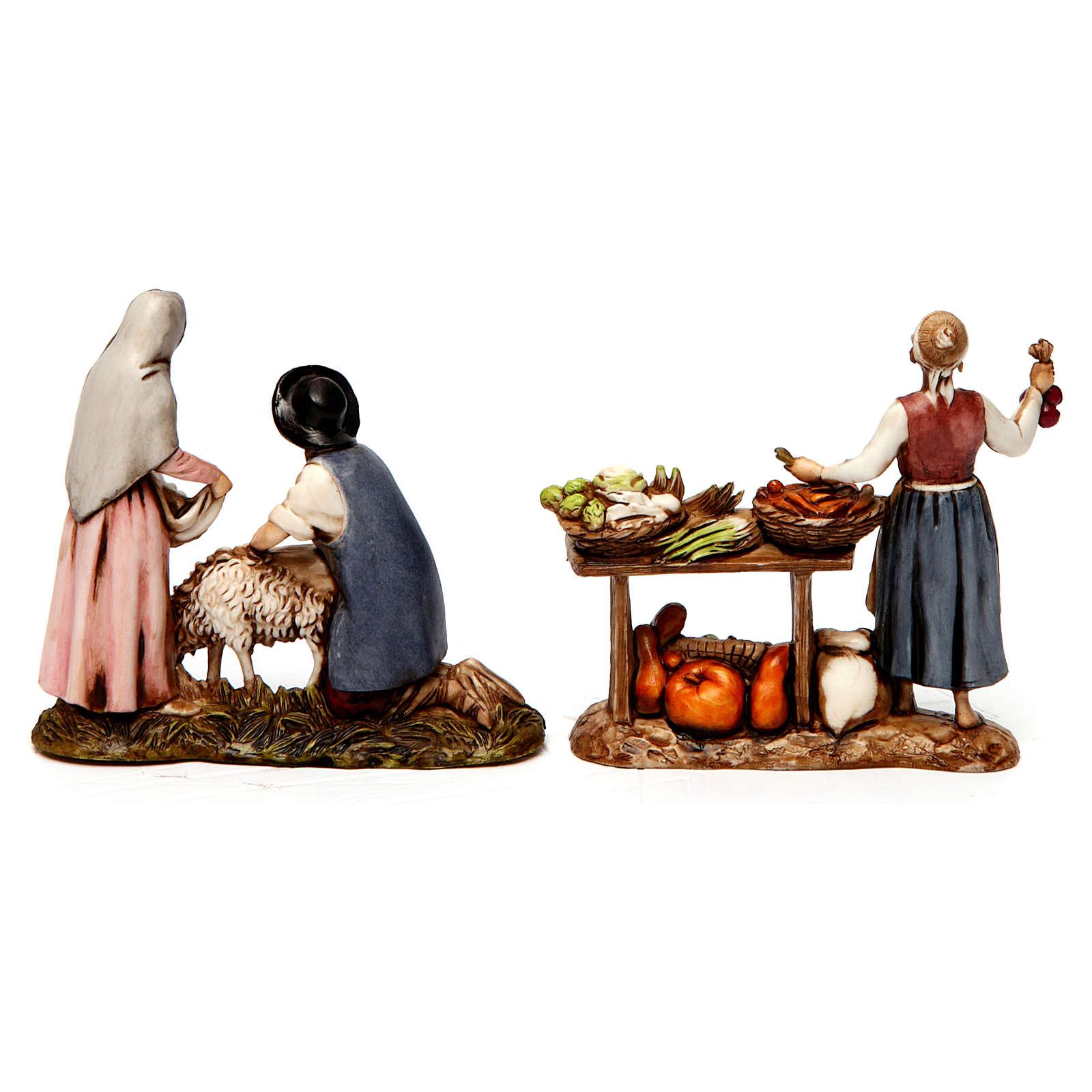 Grupo de vendedora de verduras y esquiladores 8 cm Moranduzzo 2 figuras 4