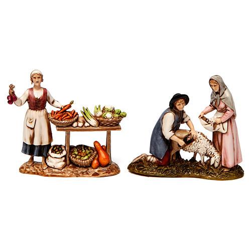 Grupo de vendedora de verduras y esquiladores 8 cm Moranduzzo 2 figuras 1