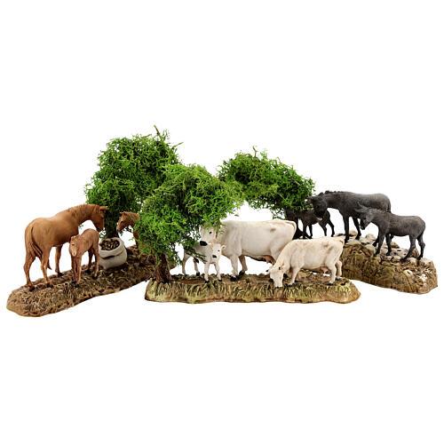 Groupe animaux et décor 3 pcs 8 cm Moranduzzo 1