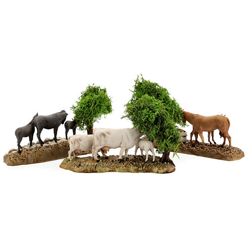 Group of animals and setting, 3pcs 8cm Moranduzzo 8