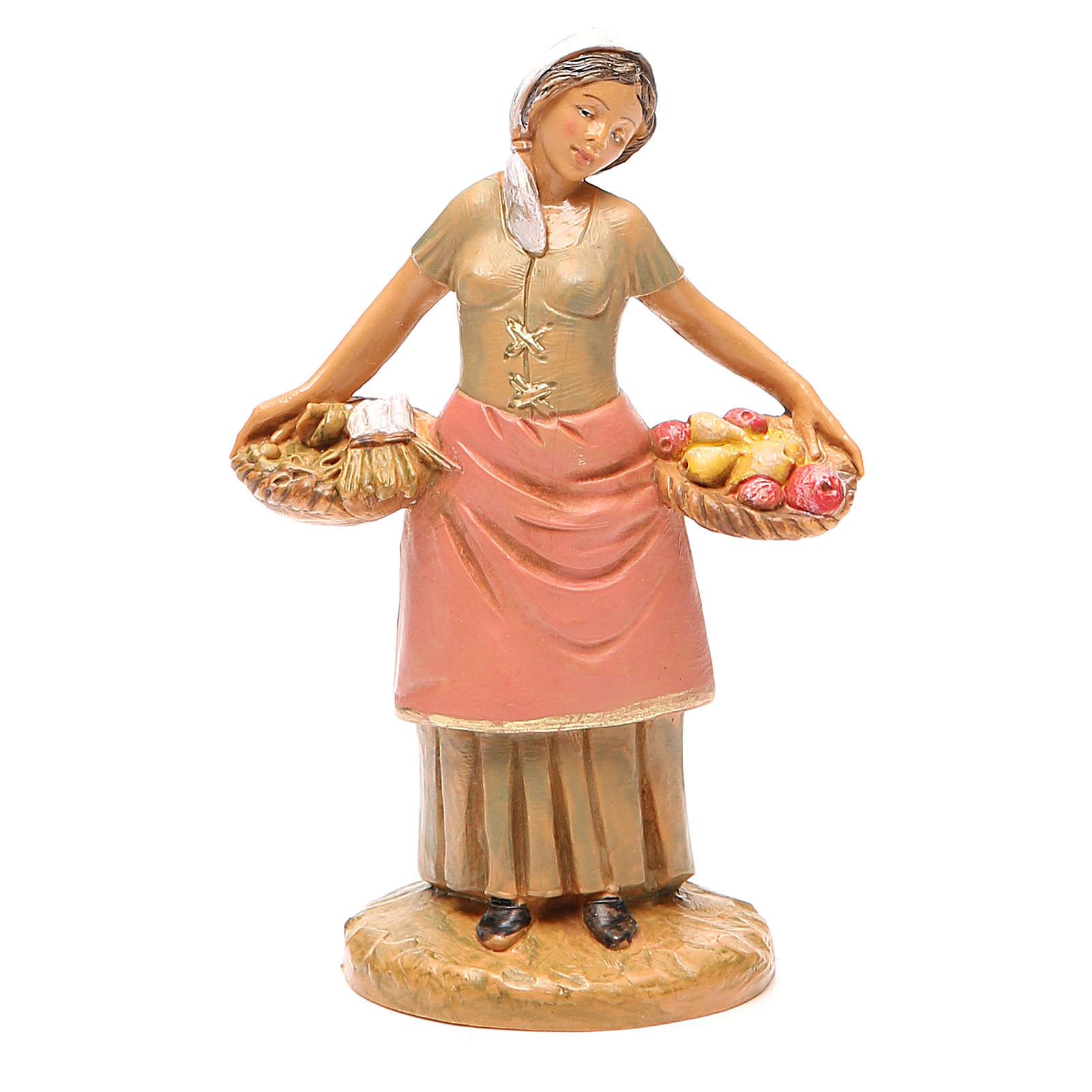 Mujer con cesta fruta 12 cm belén Fontanini 4
