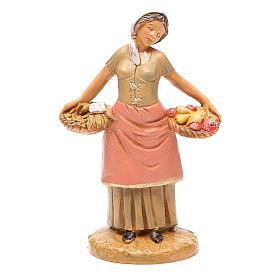 Mujer con cesta fruta 12 cm belén Fontanini s1