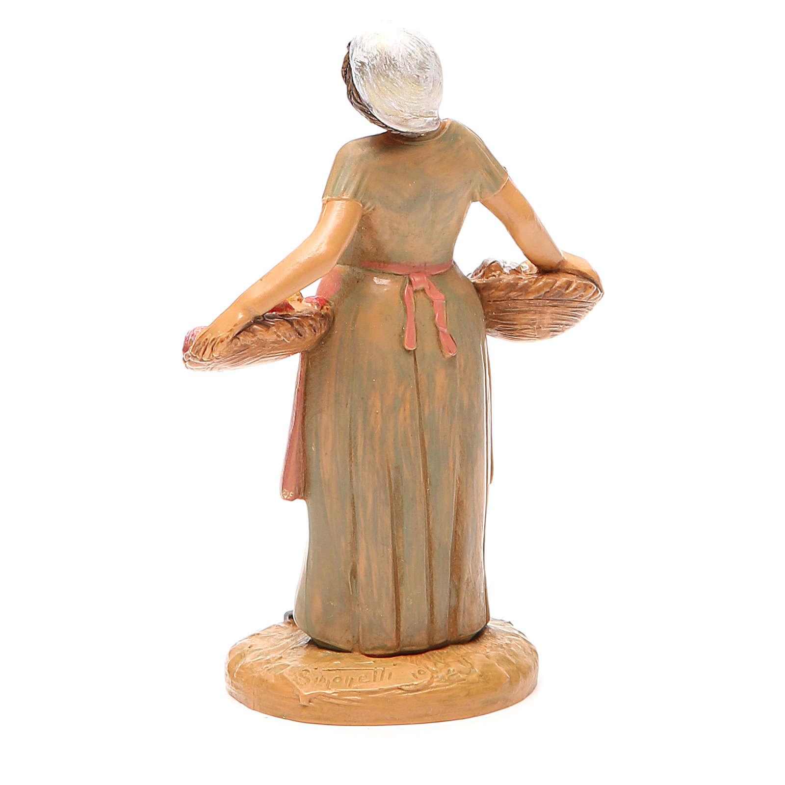 Femme panier fruits 12 cm crèche Fontanini 3