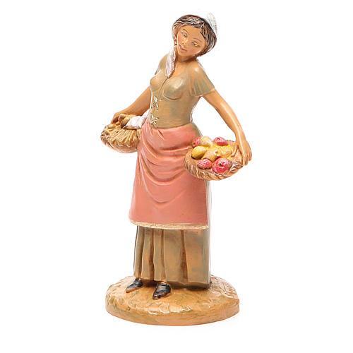 Femme panier fruits 12 cm crèche Fontanini 2