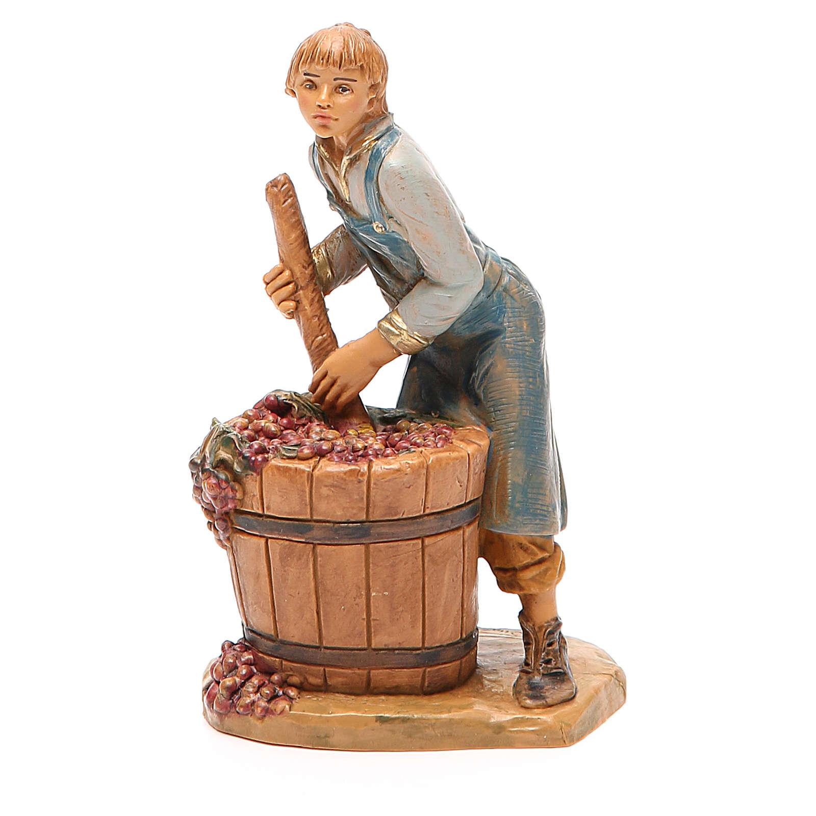 Paysan qui écrase le raisin 12 cm crèche Fontanini 3
