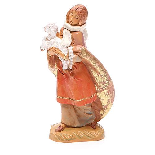 Pastorello pecora in braccio 12 cm Fontanini 2