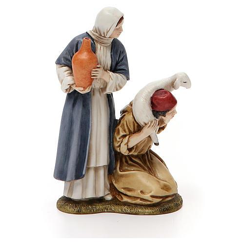 Donna con anfora e pastore in ginocchio Landi 11 cm 4