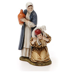Woman with amphora and kneeling shepherd for nativities of 11cm s1