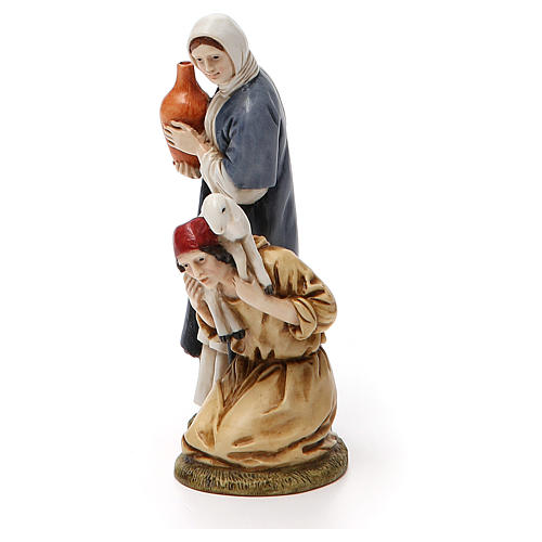 Woman with amphora and kneeling shepherd for nativities of 11cm 2