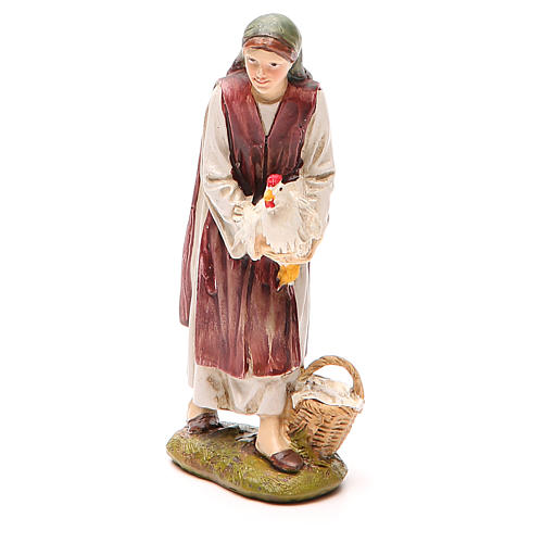 Shepherdess with hen in painted resin 12cm affordable Landi Collection 1