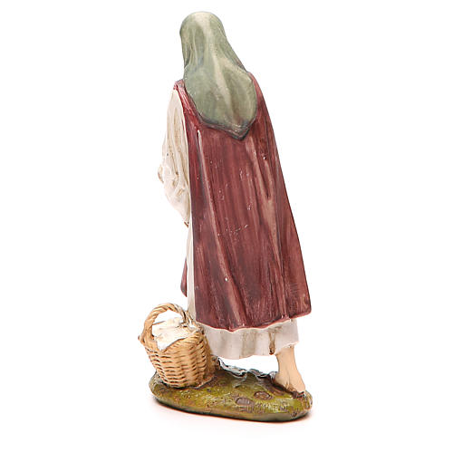 Shepherdess with hen in painted resin 12cm affordable Landi Collection 2