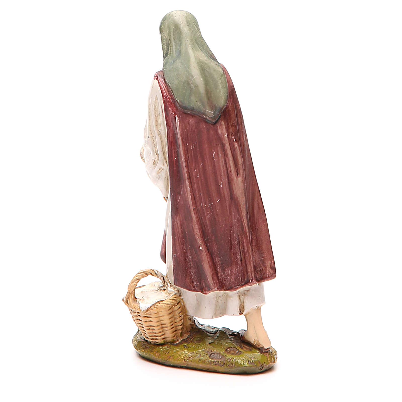 Bergère avec poule résine peinte 12 cm gamme économique Landi 3