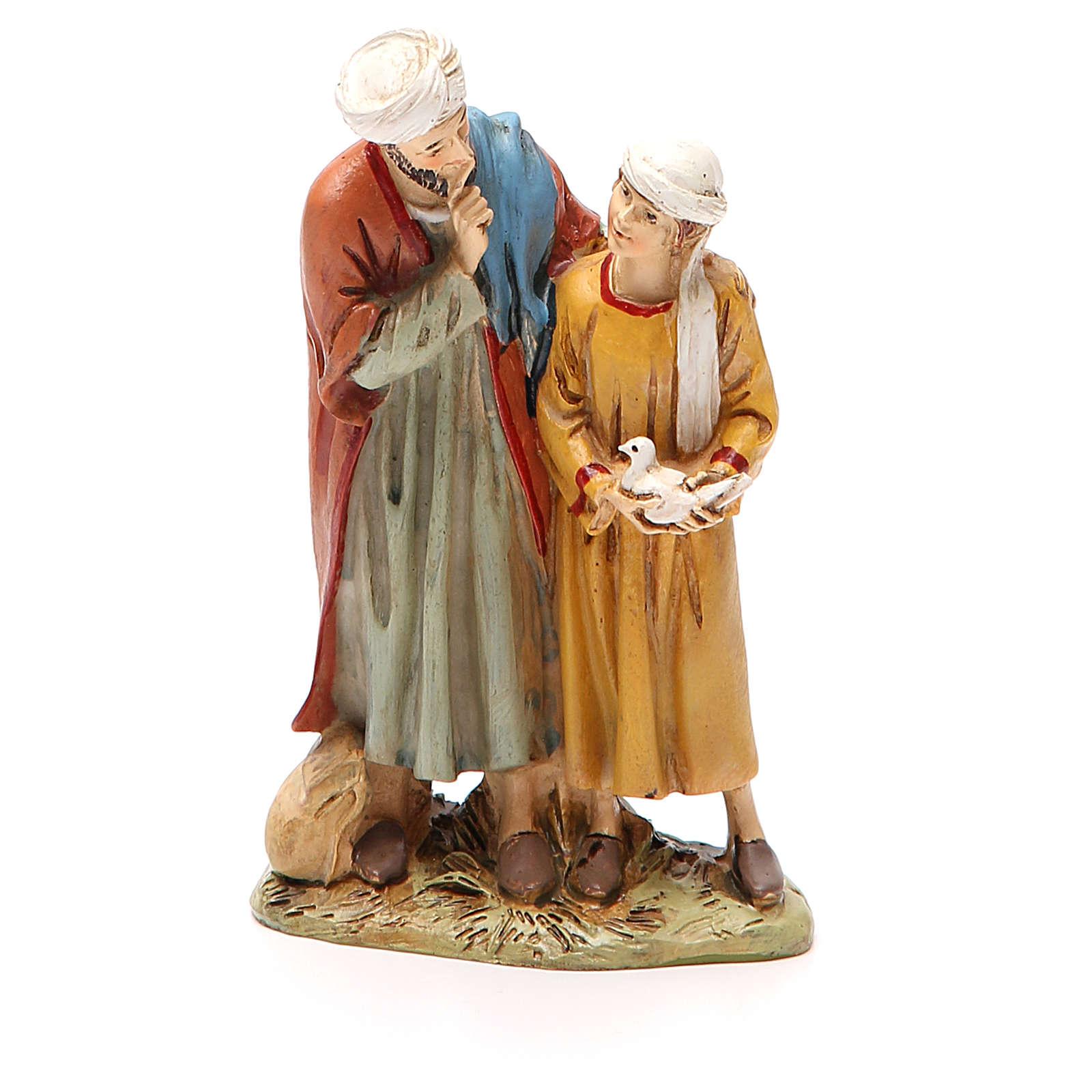Homme et enfant avec colombe résine peinte 12 cm gamme Martino Landi 3