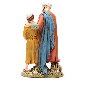 Homem e criança com pomba resina pintada 12 cm Linha barata Landi s2