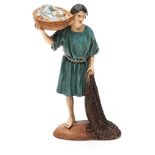 Pêcheur avec filet et panier résine peinte 12 cm gamme Martino Landi 1