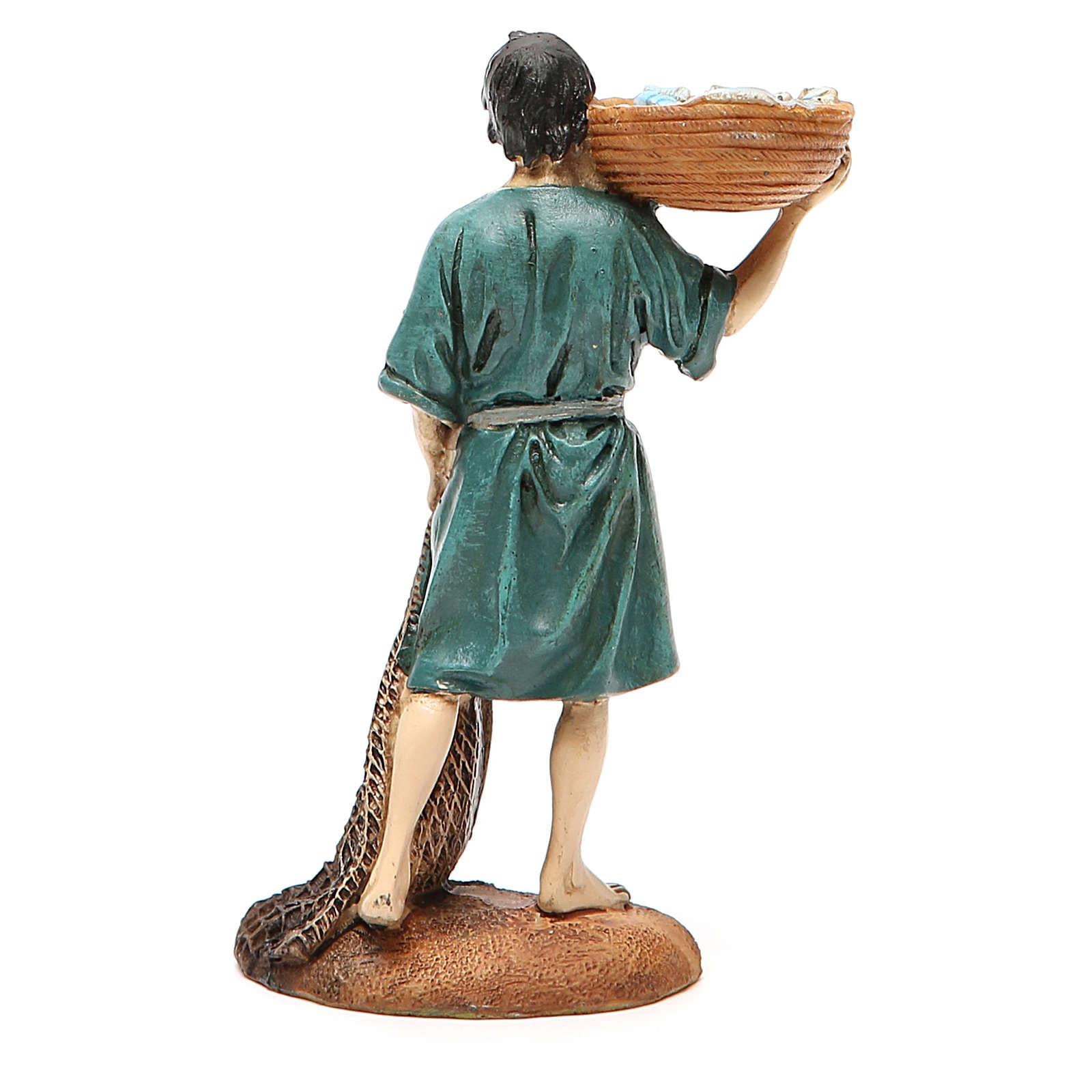 Pescador com rede e cesta resina pintada 12 cm Linha barata Landi 3
