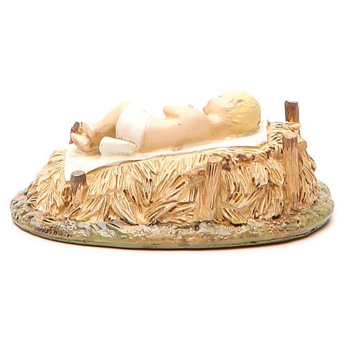 Gesù Bambino con culla in resina dipinta per presepe cm 16 Linea Landi 3