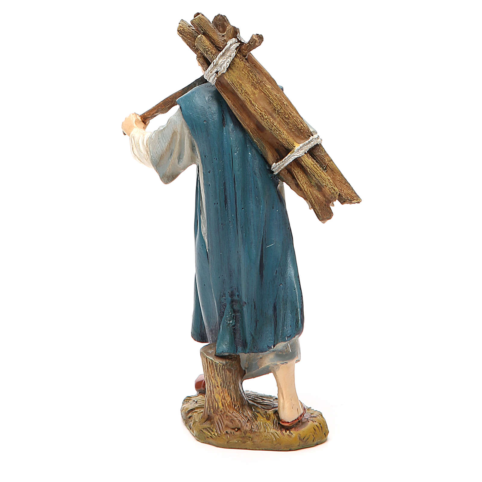 Pastore con legna resina dipinta cm 12 Linea economica Landi 3