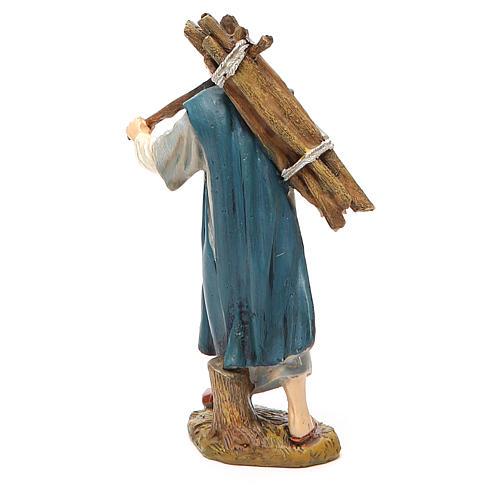 Pastore con legna resina dipinta cm 12 Linea economica Landi 2