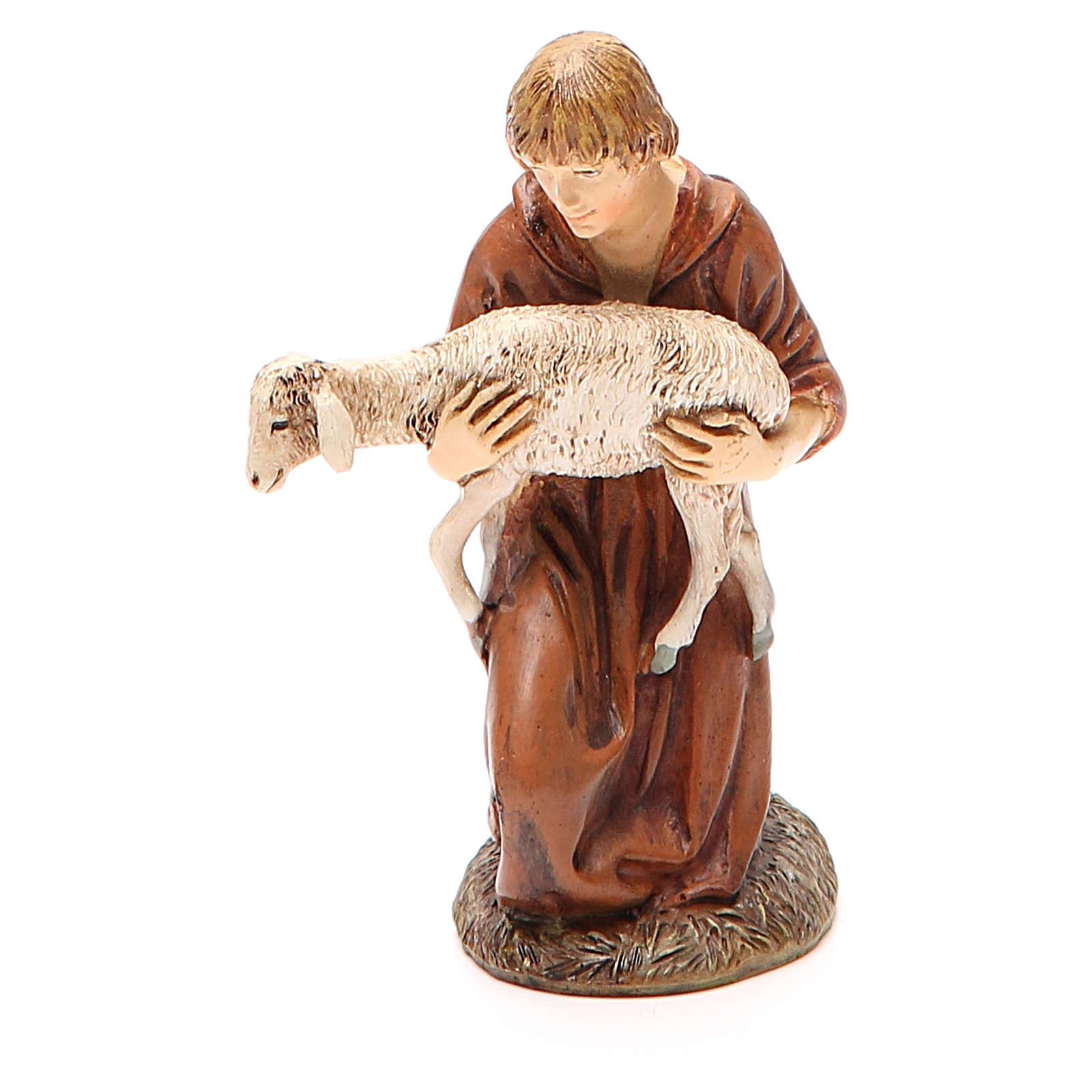 Nativity scene statue shepherd kneeling with lamb painted in resin Martino Landi brand 3