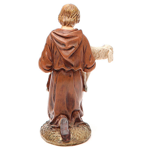 Nativity scene statue shepherd kneeling with lamb painted in resin Martino Landi brand 2