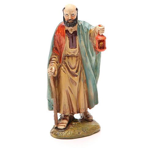 Pastor con farol resina pintada 12 cm Linea barata Landi 1