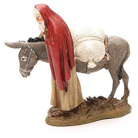 Nativity scene statue wayfarer with donkey in resin hand painted 12 cm Martino Landi brand s3