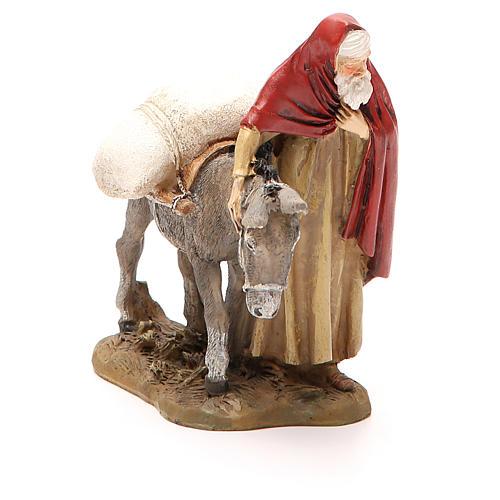 Nativity scene statue wayfarer with donkey in resin hand painted 12 cm Martino Landi brand 2