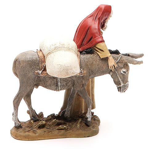 Nativity scene statue wayfarer with donkey in resin hand painted 12 cm Martino Landi brand 4