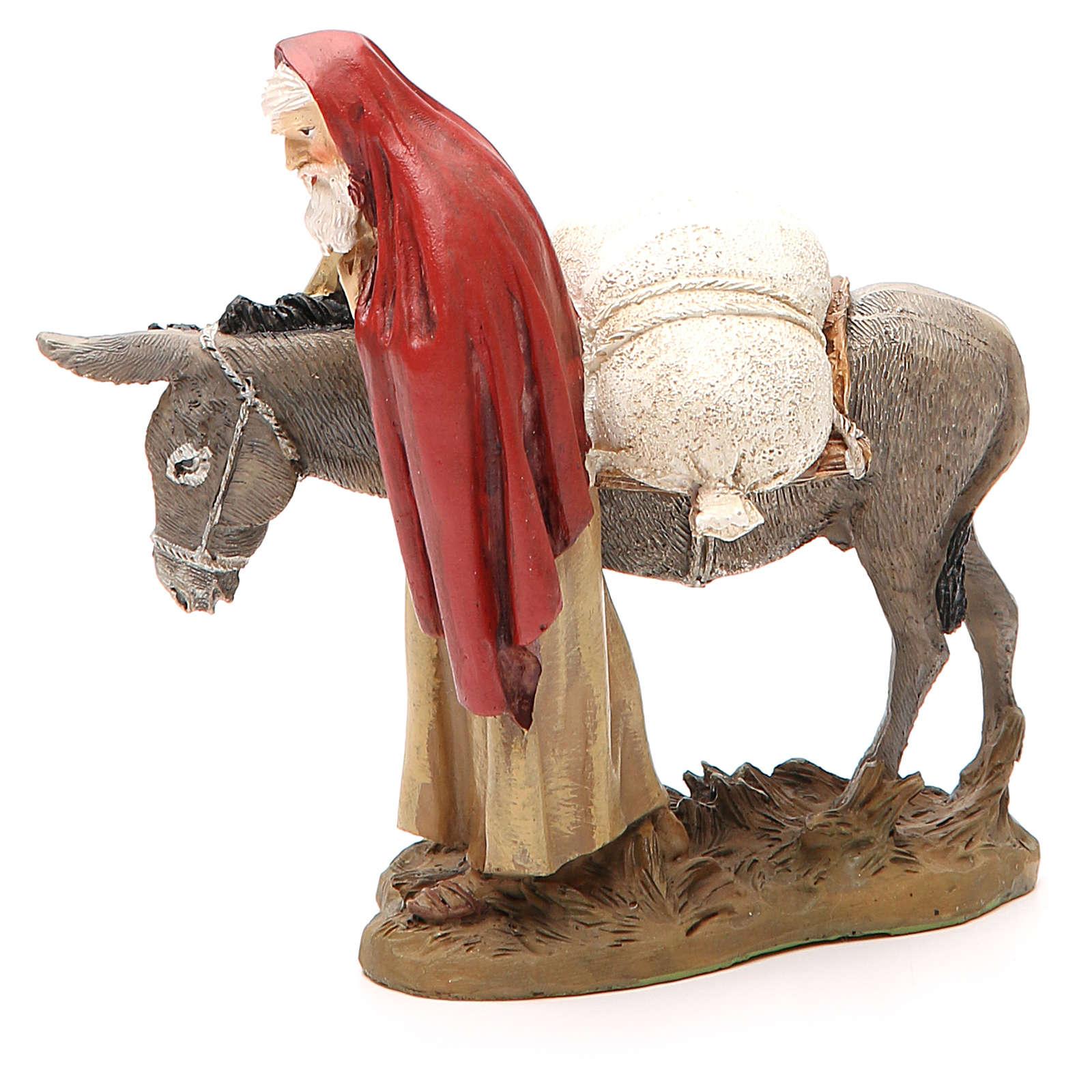 Nativity scene statue wayfarer with donkey in resin hand painted 12 cm Martino Landi brand 3