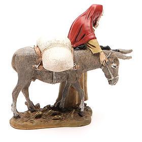 Nativity scene statue wayfarer with donkey in resin hand painted 12 cm Martino Landi brand s4